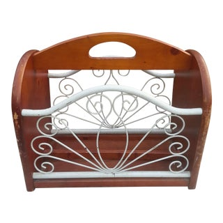 Vintage Wood and Metal Magazine Rack For Sale