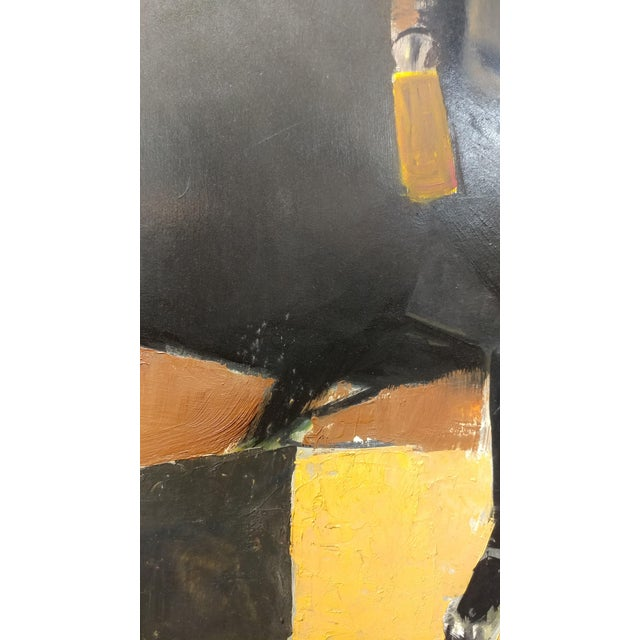Girl with a Black Coat -1961 Mid century Modern Oil painting by Weber - Image 7 of 10
