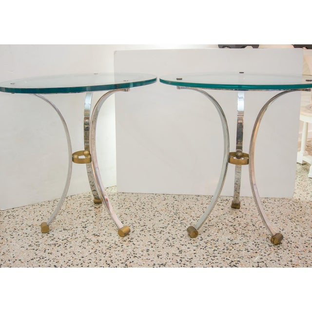 Pair of round gueridon side tables by Maison Jansen. NOTE - WE CAN ASSIST WITH CUSTOMER ARRANGED SHIPPING: SELECT LOCAL...