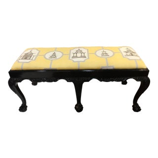 Chinoiserie Fabric Black Lacquer Claw Foot Bench For Sale