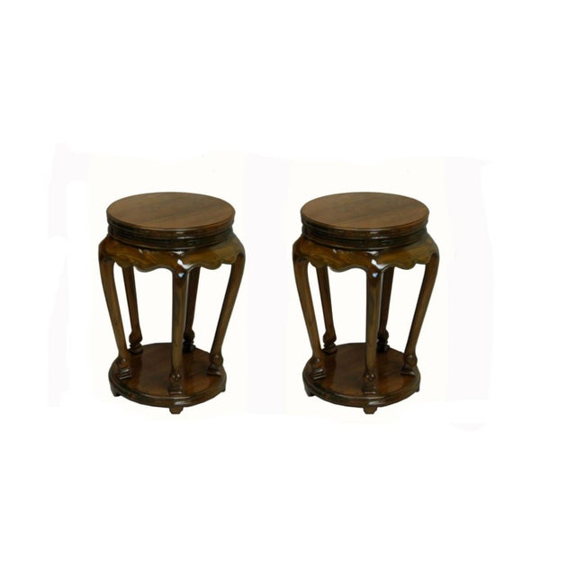 Asian Classical Chinese Candle or Incense Elm Side Table For Sale - Image 3 of 5