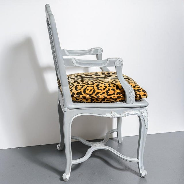 French French Painted Regence Style Caned Chairs With Leopard Velvet Print For Sale - Image 3 of 13