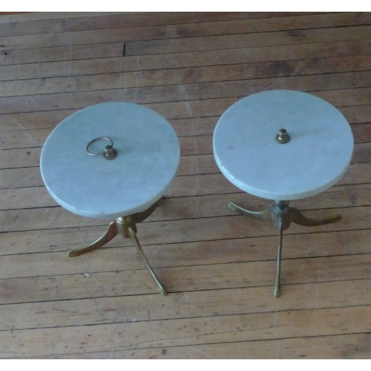 Metal Vintage Round Marble and Brass Tea Tables - a Pair For Sale - Image 7 of 8