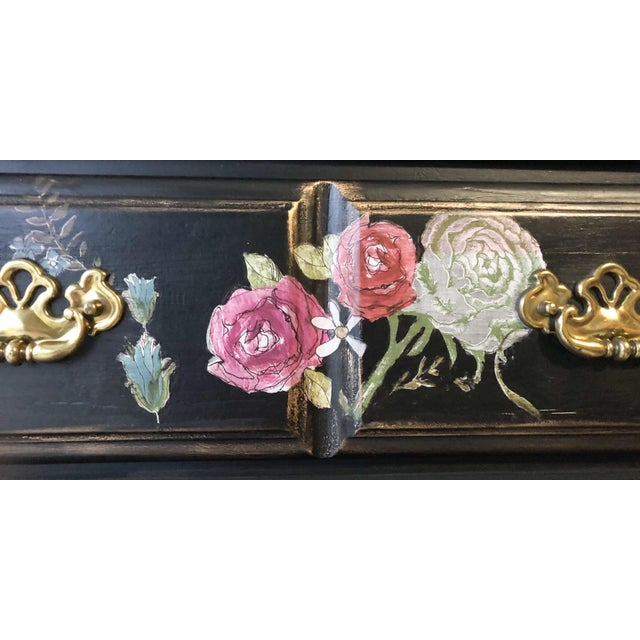 Tall Midnight Floral Storage Dresser Chest With Pinstriped Siding and Faux Marbleized Top For Sale - Image 10 of 12
