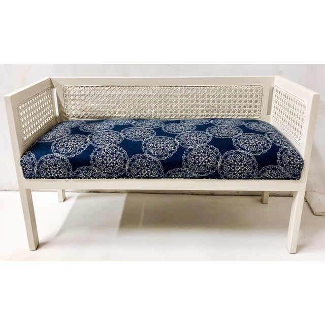 Blue 1970s Caned Bench in Linen For Sale - Image 8 of 8