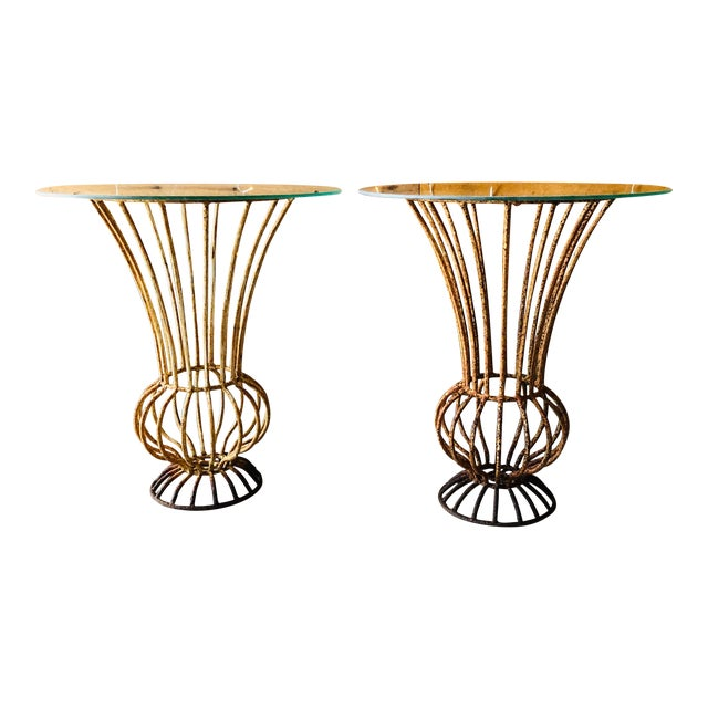 Mid-Century Wrought Iron End Tables - A Pair For Sale