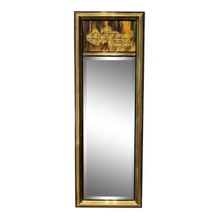 1970's Brutalist Bernhard Rohne for Mastercraft Acid Etched Brass Mirror For Sale