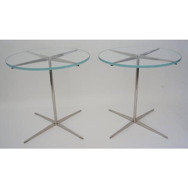 Vintage Drinks or Side Tables Glass on Polished Steel Pedestal - a Pair For Sale - Image 10 of 11