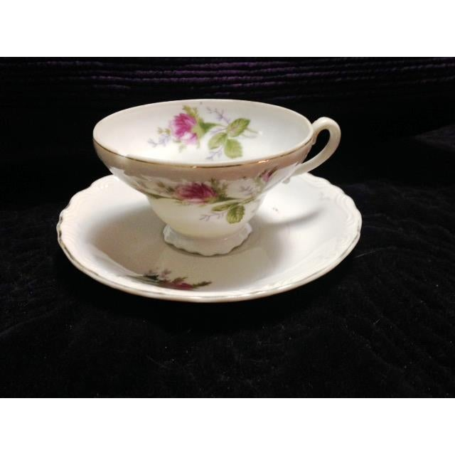 Vintage Pink & Green Flowered Cup & Saucer - Image 2 of 7