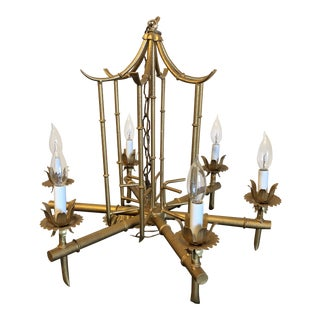 Chinoiserie Faux Bamboo Pagoda Gold Chandelier For Sale