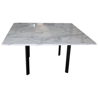 Joseph d'Urso High Table Carrera Marble Top with Black Steel Base For Sale