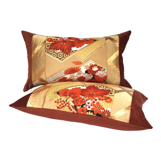 Vintage Japanese Gold & Rust Obi Pillows - A Pair - Image 1 of 7