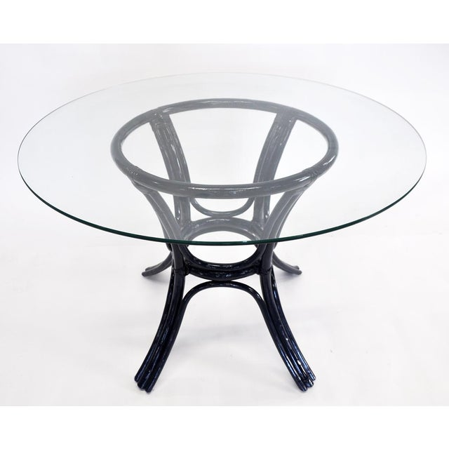 Late 20th Century Bamboo Glass-Top Table For Sale - Image 5 of 5