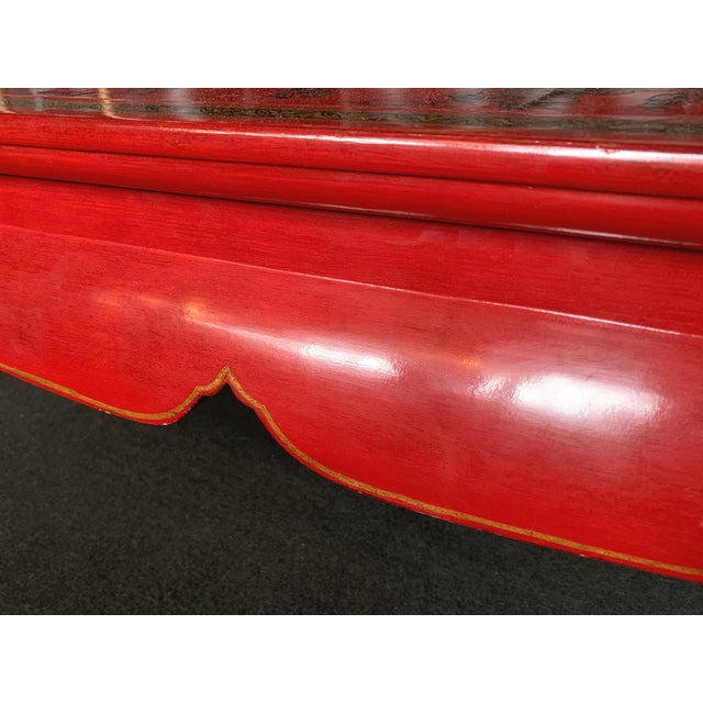 Chinese Red Lacquer & Gilt Low Coffee Table For Sale - Image 10 of 13
