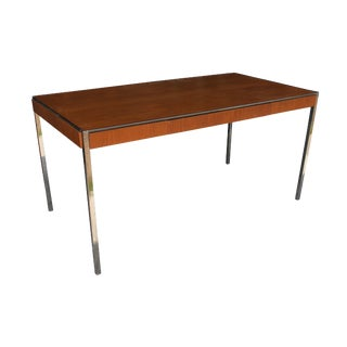 Vintage Midcentury Table Desk Oak Chrome by Davis Allen For Sale