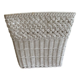 White Wood Wicker Wastebasket or Plant Vessel For Sale