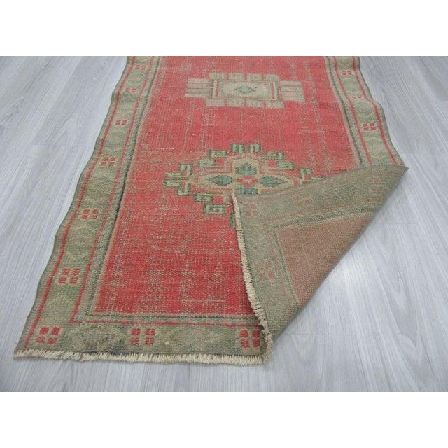 Vintage Decorative Turkish Oushak Runner Rug - 2′8″ × 10′3″ For Sale - Image 4 of 6