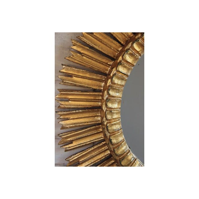 Gold Mid-Century French Sunburst Mirror With Original Mirror Glass For Sale - Image 8 of 9