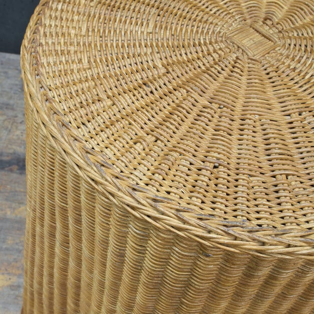 Trompe l'Oeil Rattan Draped Wicker Ghost Entryway Table Pedestal Mid-Century For Sale In Washington DC - Image 6 of 9