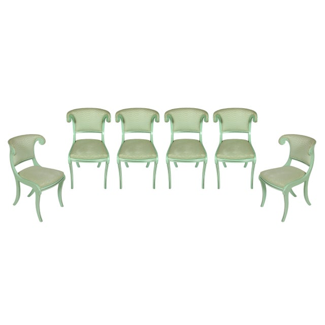Mid 20th Century Aqua Lacquered Klismos Dining Chairs - Set of 6 For Sale - Image 5 of 5