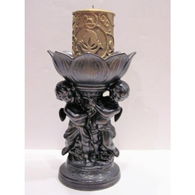 Neoclassical Vintage Cherub Epergne in Dark Metallic Pewter Glaze For Sale - Image 3 of 7