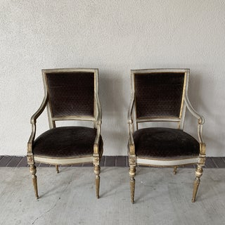 20th Century Italian Velvet Side Chairs - a Pair Preview