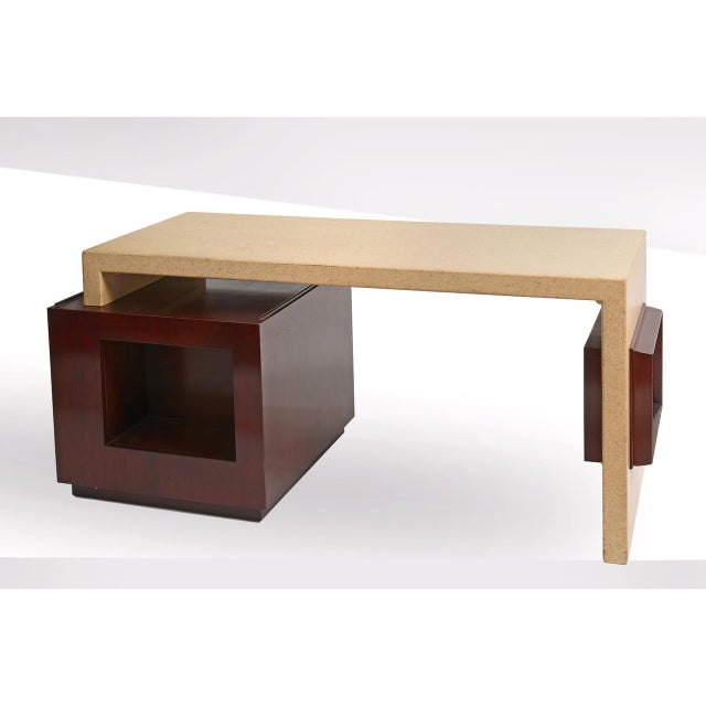 Johnson Furniture Co. Paul Frankl Cork and Mahogany Desk for Johnson Furniture 1950s For Sale - Image 4 of 8