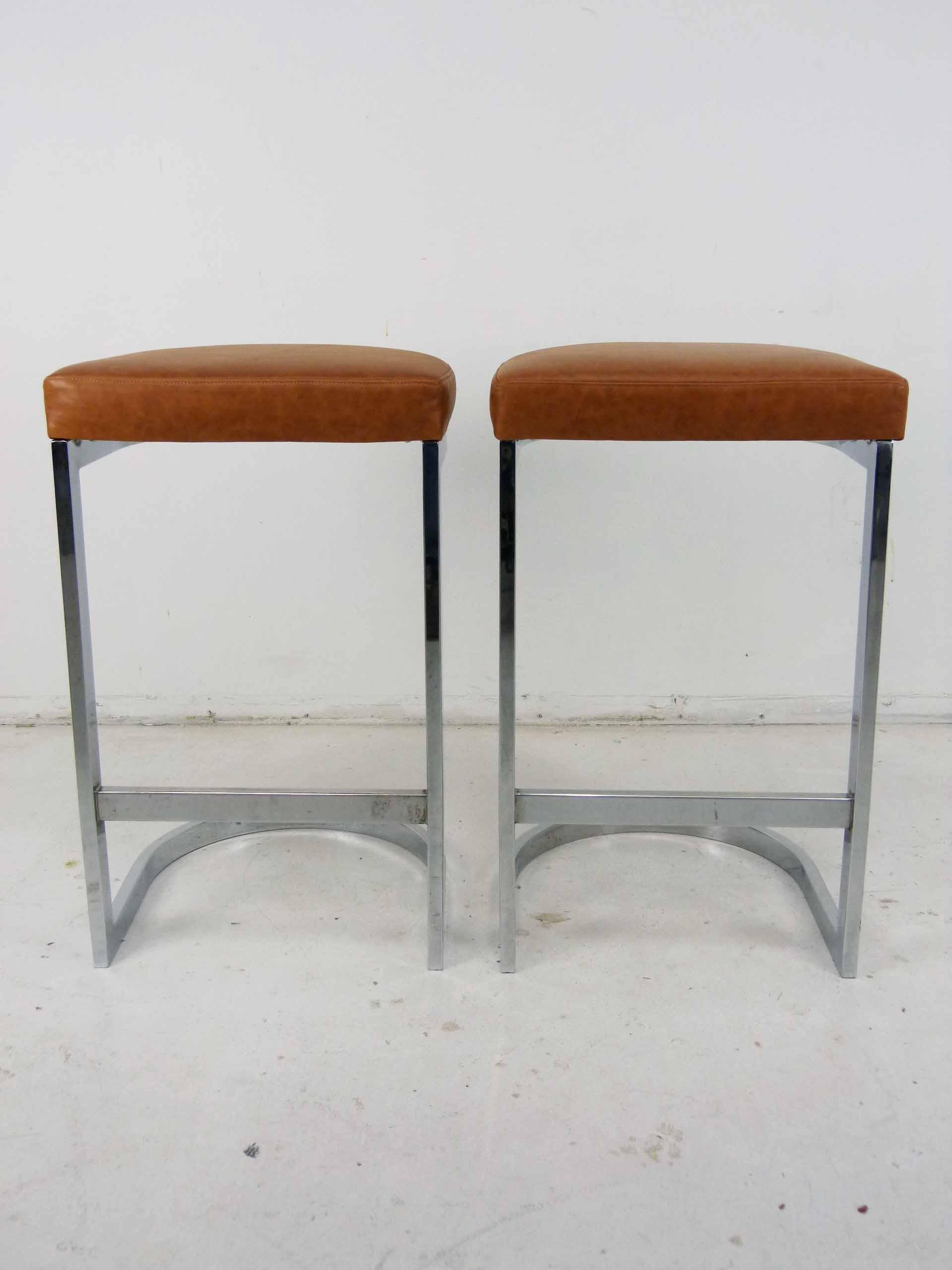 Milo Baughman Style Flat Bar Chrome Cantilever Bar Stools