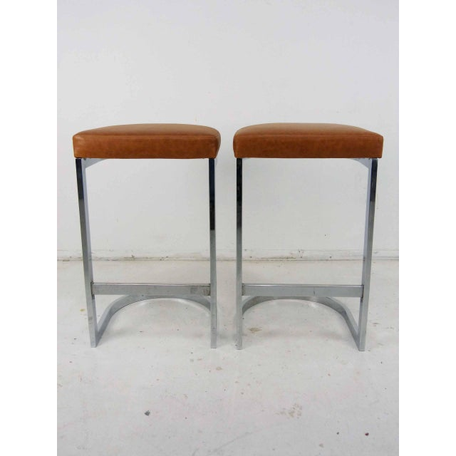 Milo Baughman Style Flat Bar Chrome Cantilever Bar Stools - A Pair - Image 2 of 10