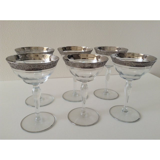 Sterling Floral Etched Cut Champagne Coupes- Set of 6 - Image 3 of 8