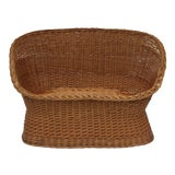Image of 1970s Vintage Woven Rattan Wicker Settee For Sale