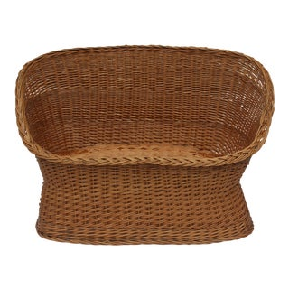 1970s Vintage Woven Rattan Wicker Settee For Sale