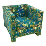 Image of 1970s Cube Chair With Jack Lenor Larsen Velvet Fabric For Sale