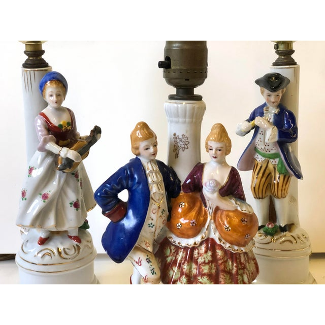 1940s Porcelain Lamps With Musician and Dancer Figurines - Set of 3 For Sale - Image 5 of 13