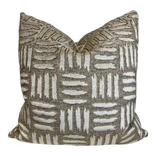 """Zinc Textiles """"Peyote"""" in Basket Cut Velvet 22"""" Pillows-Pair For Sale"""