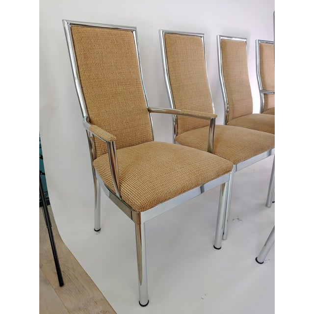 1980s Baughman Weiman Dia Style Chrome Frame Dining Chairs - Set of 6 For Sale - Image 5 of 12