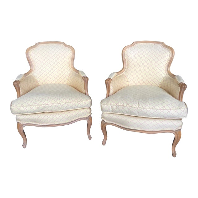 Vintage Cream and Pink Striped French Style Bergere Chairs - a Pair For Sale