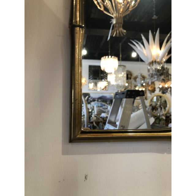Contemporary Vintage Hollywood Regency Faux Bamboo Brass Wall Mirror For Sale - Image 3 of 13