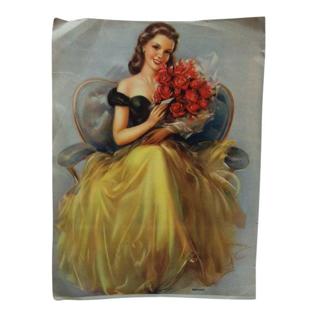 "Vintage Color Print on Paper, ""Debutante"" by Kerbit, Circa 1940 For Sale"