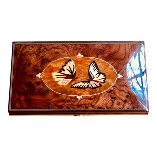 Parturzo Giovanni Italian Wood Inlay Butterfly Music Box For Sale
