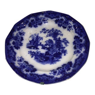 Sobraon Vintage Blue & White Porcelain Plate For Sale