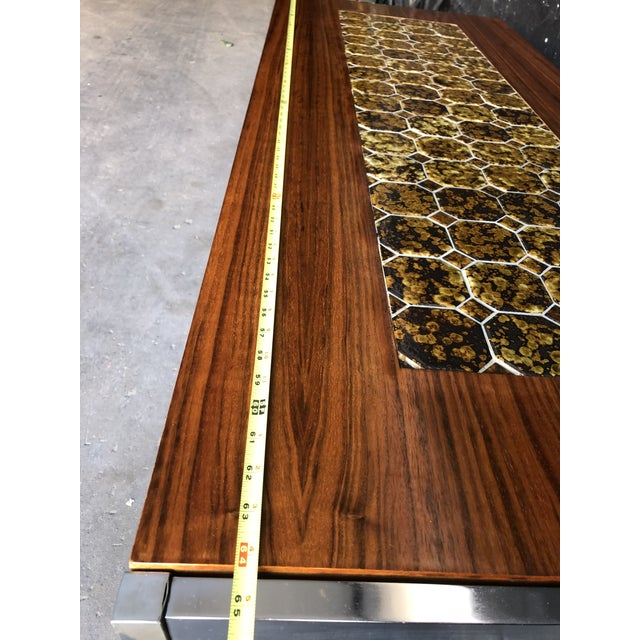 Florence Knoll 1960s Mid Century Modern Teak & Chrome Tiled Coffee Table For Sale - Image 4 of 6