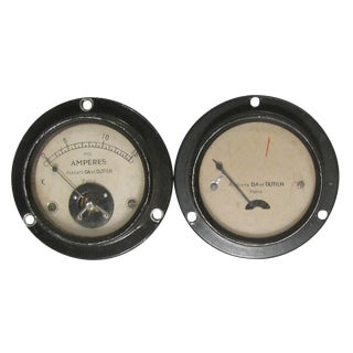 French Art Deco Industrial Gauges C. 1920, Pair For Sale