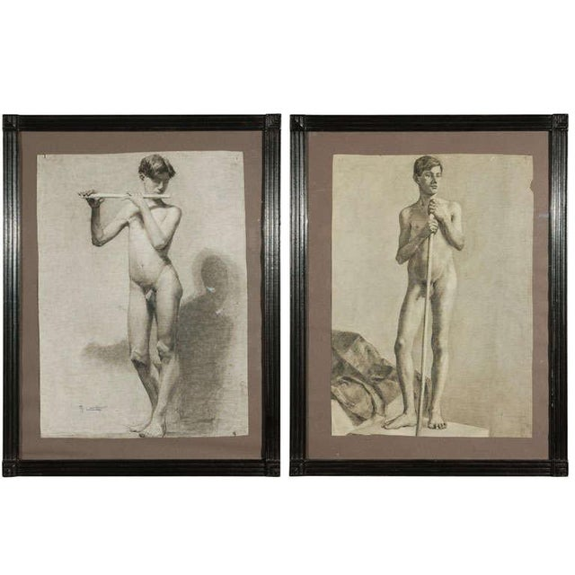 Pair of Charcoal Italian Male Nude Drawings From 1880 For Sale - Image 10 of 10