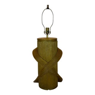 Betty Cobonpue Style Reeded Rattan Sculptural Table Lamp For Sale