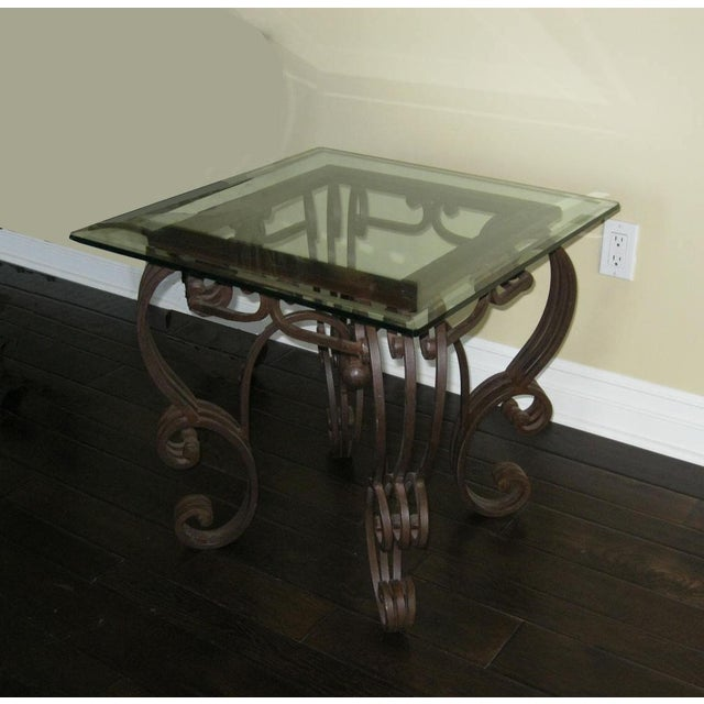e22f61f723d5 Vintage Spanish Style Wrought Iron Glass Top End Table For Sale - Image 4  of 4