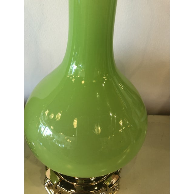 Vintage Paul Hanson Green Opaline Glass Brass Base Table Lamps - A Pair For Sale In West Palm - Image 6 of 13