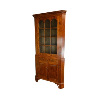 Irion Company Custom Made Tiger Maple Chippendale Style Corner Cabinet For Sale
