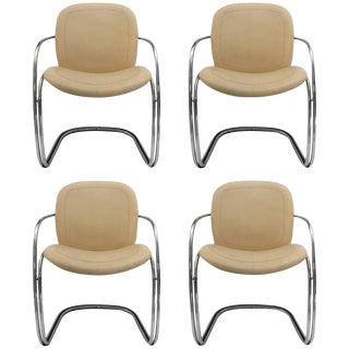 1970s Vintage Gastone Rinaldi for Rima Italian Chrome and Leather Chairs- Set of 4 For Sale