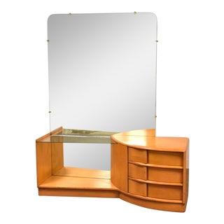 Heywood Wakefield Sculptura Solid Vanity & Mirror For Sale